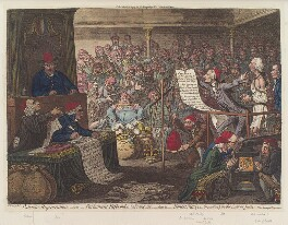 'Patriotic regeneration, - viz. - Parliament reform'd, a la françois, - that is - honest men (ie - Opposition) in the seat of justice', by James Gillray, published by  Hannah Humphrey, published 2 March 1795 - NPG D12519 - © National Portrait Gallery, London