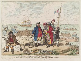 'The real cause of the present high price of provisions, or, a view on the sea coast of England, with French agents, smuggling away supplies for France', by James Gillray, published by  Hannah Humphrey - NPG D12522