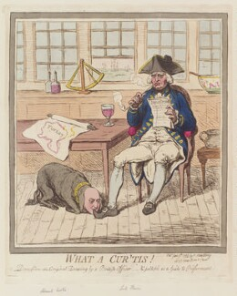 'What a cur 'tis!' (Sir Roger Curtis, 1st Bt; Richard Howe, 1st Earl Howe), by James Gillray, published by  Hannah Humphrey, published 9 June 1795 - NPG  - © National Portrait Gallery, London
