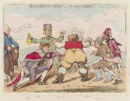 William Pitt ('Blindmans-buff - or - too many for John Bull'), by James Gillray, published by  Hannah Humphrey, published 12 June 1795 - NPG  - © National Portrait Gallery, London