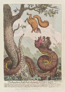 'The Republican rattle-snake fascinating the Bedford-squirrel', by James Gillray, published by  Hannah Humphrey, published 16 November 1795 - NPG D12547 - © National Portrait Gallery, London