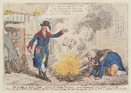'The Crown and Anchor libel, burnt by the public hangman', by James Gillray, published by  Hannah Humphrey - NPG D12550