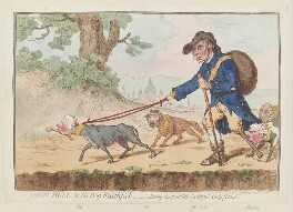 'John Bull and his dog Faithful' (William Pitt; Charles James Fox; Richard Brinsley Sheridan; Charles Grey, 2nd Earl Grey), by James Gillray, published by  Hannah Humphrey, published 20 April 1796 - NPG D12566 - © National Portrait Gallery, London