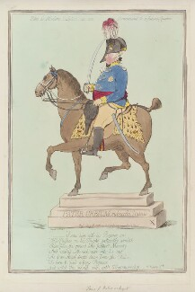 King George IV ('Hint to modern sculptors, as an ornament to a future square'), by James Gillray, published by  Hannah Humphrey, published 3 May 1796 - NPG  - © National Portrait Gallery, London