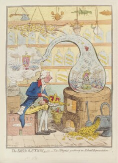 'The dissolution; or - the alchymist producing an aetherial representation', by James Gillray, published by  Hannah Humphrey, published 21 May 1796 - NPG  - © National Portrait Gallery, London