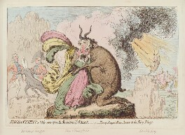 'Enchantments lately seen upon the mountains of Wales, - or - Shon-ap-Morgan's reconcilement to the fairy princess, by James Gillray, published by  Hannah Humphrey, published 30 June 1796 - NPG D12576 - © National Portrait Gallery, London