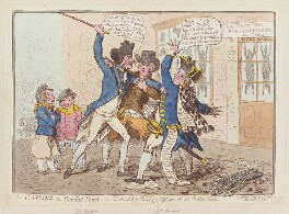'The caneing in Conduit Street' (Thomas Pitt, 2nd Baron Camelford; Charles Vancouver; George Vancouver), by James Gillray, published by  Hannah Humphrey, published 1 October 1796 - NPG  - © National Portrait Gallery, London