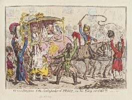 James Harris, 1st Earl of Malmesbury ('Glorious reception of the Ambassador of Peace, on his entry into Paris - '), by James Gillray, published by  Hannah Humphrey, published 28 October 1796 - NPG  - © National Portrait Gallery, London