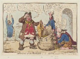 'Opening of the budget; - or - John Bull giving his breeches to save his bacon', by James Gillray, published by  Hannah Humphrey, published 17 November 1796 - NPG D12583 - © National Portrait Gallery, London