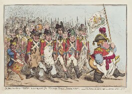 'Supplementary-militia, turning-out for twenty-days amusement', by James Gillray, published by  Hannah Humphrey, published 25 November 1796 - NPG  - © National Portrait Gallery, London