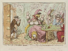 'The loss of the faro bank; or - the rook's pigeon'd', by James Gillray, published by  Hannah Humphrey - NPG D12595