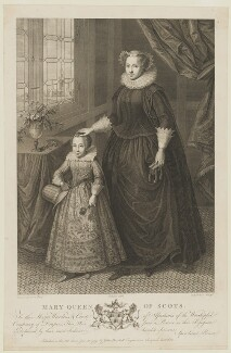 Unknown child called King James I of England and VI of Scotland and an unknown woman called Mary, Queen of Scots, by Francesco Bartolozzi, after  Unknown artist - NPG D13126