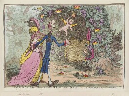 'The nuptial-bower; - with the evil-one, peeping at the charms of Eden' (Eleanor Eden; William Pitt; Charles James Fox), by James Gillray, published by  Hannah Humphrey, published 13 February 1797 - NPG D12597 - © National Portrait Gallery, London
