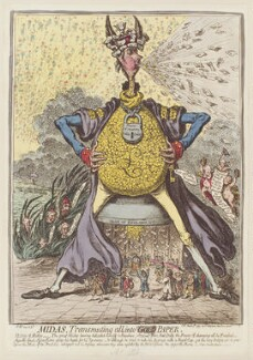 'Midas, transmuting all, into paper', by James Gillray, published by  Hannah Humphrey - NPG D12603