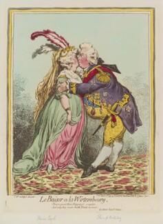'Le baiser a la Wirtembourg' (Charlotte Augusta Matilda, Princess Royal; Friedrich I, King of Württemberg), by James Gillray, published by  Hannah Humphrey - NPG D12608