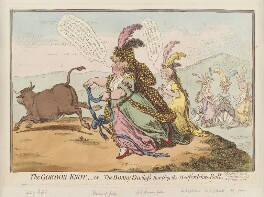 'The Gordon-knot, - or - the bonny-duchess hunting the Bedfordshire bull', by James Gillray, published by  Hannah Humphrey, published 19 April 1797 - NPG D12610 - © National Portrait Gallery, London