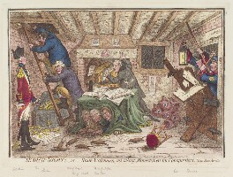'Search-night; - or - state-watchmen mistaking honest-men for conspirators', by James Gillray, published by  Hannah Humphrey - NPG D12633