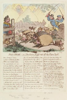 'Pigs meat; - or - the swine flogg'd out of the farm yard', by James Gillray, published by  Hannah Humphrey, published 22 June 1798 - NPG D12654 - © National Portrait Gallery, London