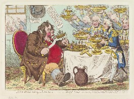 John Bull taking a luncheon: - or - British cooks, cramming old grumble-gizzard, with bonne-chére, by James Gillray, published by  Hannah Humphrey, published 24 October 1798 - NPG  - © National Portrait Gallery, London