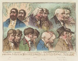 'Doublûres of characters; - or - striking resemblances in phisiognomy', by James Gillray, published by  John Wright - NPG D12663
