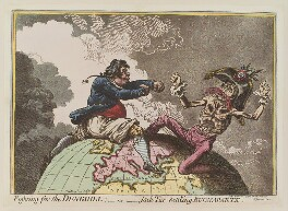 Napoléon Bonaparte ('Fighting for the dunghill: - or - Jack Tar settling Buonaparte'), by James Gillray, published by  Hannah Humphrey - NPG D12666