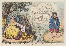 'Horrors of the Irish-Union; - botheration of poor Pat - or - a whisper across the Channel', by James Gillray, published by  Hannah Humphrey - NPG D12673