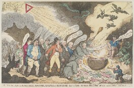 'A charm for a democracy, reviewed, analysed, & destroyed Jany 1st 1799 to the confusion of its affiliated friends', by Thomas Rowlandson, published by  James Whittle - NPG D12677