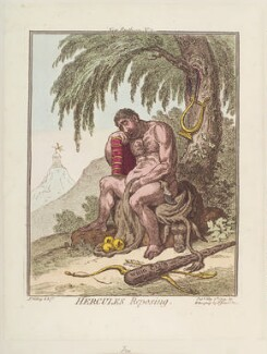 Charles James Fox ('Hercules reposing'), by James Gillray, published by  Hannah Humphrey, published 7 May 1799 - NPG  - © National Portrait Gallery, London