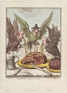 'Harpyes defiling the feast' (George Tierney; George Shuckburgh; Joseph Jekyll), by James Gillray, published by  Hannah Humphrey - NPG D12688