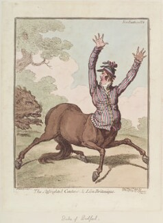 Francis Russell, 5th Duke of Bedford ('The affrighted centaur, & lion Britanique'), by James Gillray, published by  Hannah Humphrey, published 7 May 1799 - NPG  - © National Portrait Gallery, London