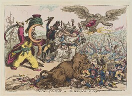 'The state of the war - or the monkey-race in danger', by James Gillray, published by  Hannah Humphrey - NPG D12694