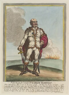 Alexander Vasilievich Suvóroff ('Field-Marshall Count Suwarrow-Romniskoy'), by James Gillray, published by  Hannah Humphrey, published 23 May 1799 - NPG  - © National Portrait Gallery, London