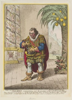 Richard Brinsley Sheridan ('Pizarro contemplating over the product of his new Peruvian mine'), by James Gillray, published by  Hannah Humphrey, published 4 June 1799 - NPG  - © National Portrait Gallery, London