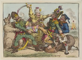 'Allied-powers, un-booting egalité' (Napoléon Bonaparte; William V, Prince of Orange?), by James Gillray, published by  Hannah Humphrey - NPG D12705