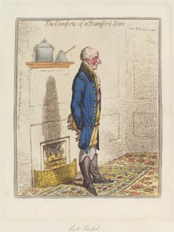 Sir Benjamin Thompson, Count von Rumford ('The comforts of a Rumford stove'), by James Gillray, published by  Hannah Humphrey, published 12 June 1800 - NPG D12740 - © National Portrait Gallery, London
