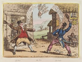 'Political amusements for young gentlemen; - or - the Old Brentford shuttlecock, between Old Sarum, and the Temple of St Steevens', by James Gillray, published by  Hannah Humphrey, published 15 March 1801 - NPG D12758 - © National Portrait Gallery, London