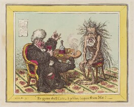 'Be gone dull care, - I prithee begone from me!', by James Gillray, published by  Hannah Humphrey - NPG D12765