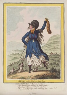 Mary Amelia Cecil (née Hill), Marchioness of Salisbury ('Diana return'd from the chace'), by James Gillray, published by  Hannah Humphrey - NPG D12785