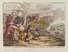 'Physical aid, - or - Britannia recover'd from a trance; - also, the patriotic courage of Sherry Andrew; & a peep thro' the fog', by James Gillray, published by  Hannah Humphrey, published 14 March 1803 - NPG D12803 - © National Portrait Gallery, London