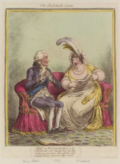 'The Bulstrode siren' (William Henry Cavendish Bentinck, 3rd Duke of Portland; Elizabeth Billington (née Weichsel)), by James Gillray, published by  Hannah Humphrey - NPG D12805