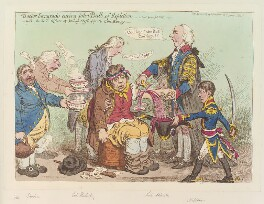 'Doctor Sangrado curing John Bull of repletion - with the kind offices of young Clysterpipe & little Boney -', by James Gillray, published by  Hannah Humphrey, published 2 May 1803 - NPG  - © National Portrait Gallery, London