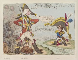 'Armed-heroes' (Robert Jenkinson, 2nd Earl of Liverpool; Henry Addington, 1st Viscount Sidmouth; Napoléon Bonaparte), by James Gillray, published by  Hannah Humphrey, published 18 May 1803 - NPG  - © National Portrait Gallery, London
