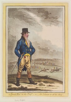 Traditionally identified as John Russell, 6th Duke of Bedford, or possibly Mr Johnson ('A great man on the turf, - or - Sir-Solomon in all his glory'), by James Gillray, published by  Hannah Humphrey - NPG D12816