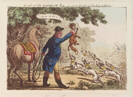 'Death of the Corsican-fox - scene the last, of the royal-hunt' (King George III; Napoléon Bonaparte), by James Gillray, published by  Hannah Humphrey - NPG D12818