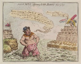 Napoléon Bonaparte ('John Bull offering little Boney fair play'), by James Gillray, published by  Hannah Humphrey, published 2 August 1803 - NPG  - © National Portrait Gallery, London