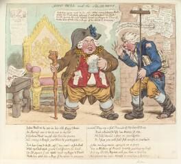 'John Bull and the alarmist' (Richard Brinsley Sheridan; King George III?), by James Gillray, published by  Hannah Humphrey - NPG D12821