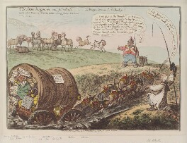'The state waggoner, and John Bull - or - the waggon too much for the donkeys!', by James Gillray, published by  Hannah Humphrey - NPG D12829