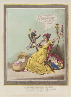 Napoléon Bonaparte ('The genius of France nursing her darling'), by James Gillray, published by  Hannah Humphrey - NPG D12838