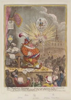 'The theatrical bubble; - being a new specimen of the astonishing powers of the great politico-punchinello, in the art of dramatic puffing', by James Gillray, published by  Hannah Humphrey - NPG D12839
