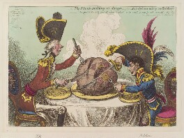 'The plumb-pudding in danger: - or - state epicures taking un petit souper' (William Pitt; Napoléon Bonaparte), by James Gillray, published by  Hannah Humphrey, published 26 February 1805 - NPG D12840 - © National Portrait Gallery, London